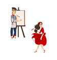 flat parisian girl boy artist painter set vector image
