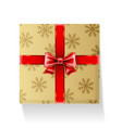 gift packaged in golden box with ribbon and bow vector image