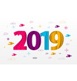 happy new year 2019 paper greeting card vector image vector image