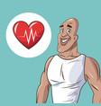 healthy man athletic heart beat icon vector image