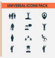 human icons set with winner student rejoicing vector image vector image