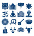 india national symbols silhouette icons set in vector image vector image