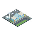 isometric building airport with planes vector image