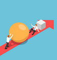 isometric businessman with sphere go faster than vector image vector image
