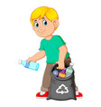 man collecting rubbish vector image vector image