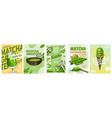 matcha green tea poster healthy milk latte vector image vector image