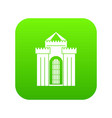medieval palace icon digital green vector image vector image