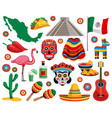 mexican symbols set vector image