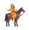mongol nomad warrior riding horse central asian vector image vector image