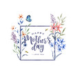 mothers day watercolor flower frame card vector image vector image