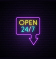 open 24 7 neon sign light banner realistic vector image