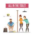 queue at toilet design concept vector image vector image