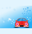 red car with heart vector image vector image