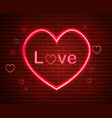 red love symbol in neon light valentine vector image vector image