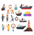 sailors and ships nautical set vector image vector image