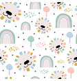 seamless pattern with cute hand drawn lion faces vector image vector image