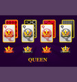 set four queens playing cards suits for poker vector image vector image
