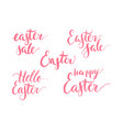 set lettering theme easter happy hello pink vector image