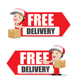 Smile delivery man handling the box and package vector image vector image