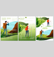 summer camp travel posters set - man woman vector image vector image