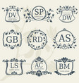 vintage elegance wedding monograms with floral vector image vector image
