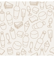 Vintage food thin line icon seamless pattern vector image vector image