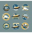 vintage space and astronaut colored badges vector image vector image