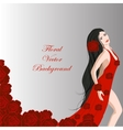 Young beautiful dancer girl in red dress of roses vector image
