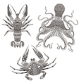 Zentangle stylized Octopus King Crab Crayfish Hand vector image vector image