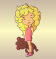 Little girl with teddy bear vector image