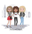 beautiful cute girls in london vector image