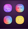bitcoin cryptocurrency app icons set vector image
