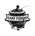 carp fishing emblem template with fish vector image vector image