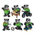 cartoon character set of cute little panda vector image vector image