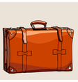 cartoon suitcase from brown leather with rivets vector image vector image
