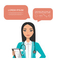 chinese female doctor hospital worker speaking vector image vector image