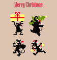 christmas animal silhouettes vector image vector image