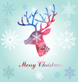 Christmas reindeer silhouette portrait vector image vector image