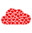cloud collage of hearts suit icons vector image vector image