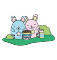 color cute mice with donuts and milk box vector image vector image