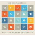 Commercial icons Multicolored square flat buttons vector image vector image