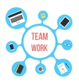 concept of team work with blue bubble vector image vector image