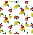 cute cartoon ladybug on green leaves seamless vector image