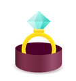 diamond engagement ring in box icon vector image vector image