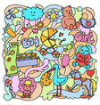 doodle baby colorful objects vector image vector image