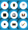 flat icon electronics set of hdd microprocessor vector image vector image