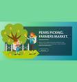 gathering harvest flat poster vector image vector image