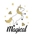 gold glitter unicorn isolated on white background vector image vector image