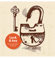 Hand drawn vintage lock and key banner vector image vector image