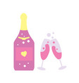 happy valentine day icon with champagne bottle vector image vector image